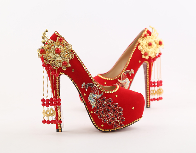 723fd73fb7fb64 ... 20 2018 Spring Red Stiletto High Heeled Platform Pumps Wedding Pointed Bridal  Shoes Online 14cm Hot Sale ...