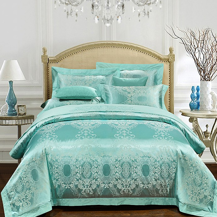 aqua green bedding set luxury girls jacquard bedspreads satin duvet covers sheets bed in a bag