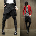 Мужчины punk rock повседневная низкий промежность мешковатые штаны шаровары с карманами кнопки брюки