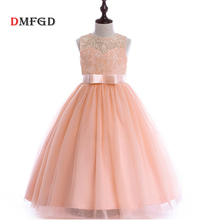 Fashion Lace kids princess clothing Flower Children Wedding Party Pageant Formal Dress Sleeveless costume for girls Tulle Dress