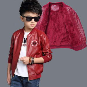 Image 5 - Brand Fashion Winter Warm Child Coat Waterproof Heavyweight Baby Girls Boys Leather Jackets Children Outerwear Kids Outfits For 90 155cm