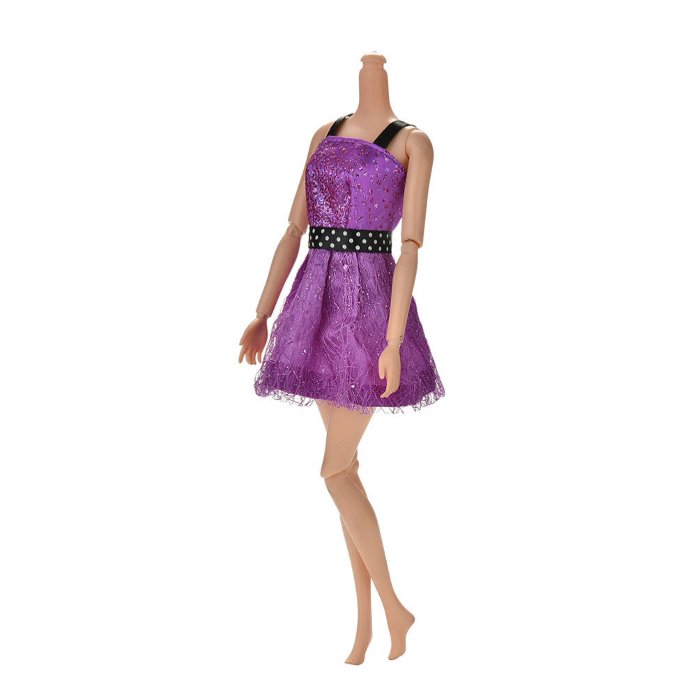 1 Pc Sleeveless Bling Sequins Dress for Barbies Handmade Doll Clothes 11cm Girls Gift Purple High