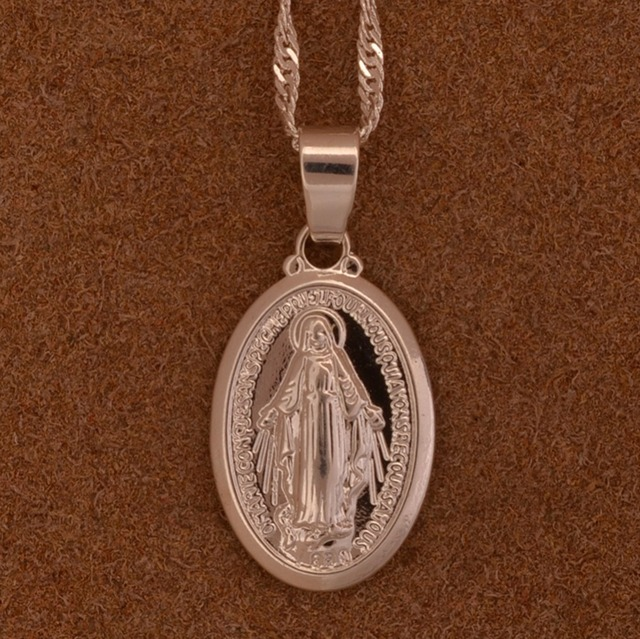 Anniyo Virgin Mary Pendant Necklace for Women/Girls,Silver/Gold Color Our Lady Jewelry Wholesale Colar Cross Trendy Chain#006210 2