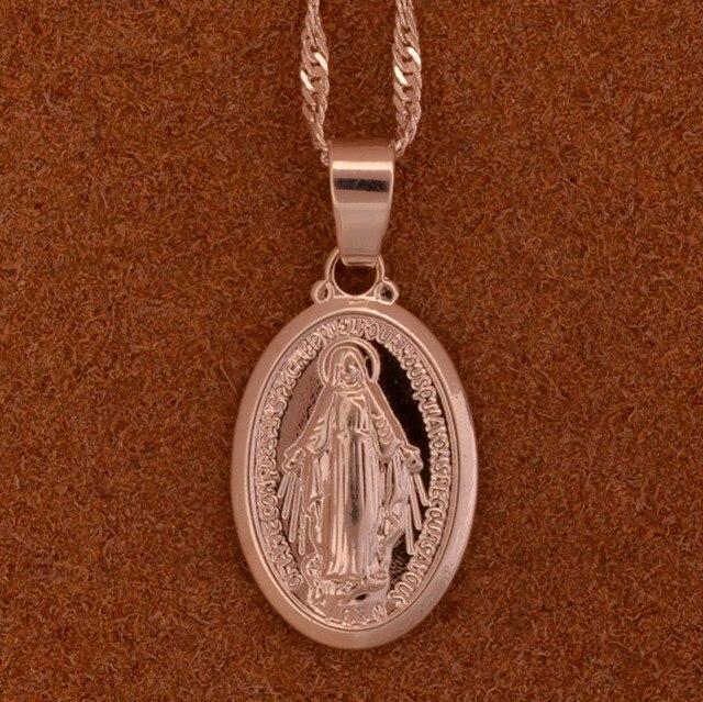 Anniyo Vergine Maria Del Pendente Della Collana per Le Donne/Ragazze, Argento/Oro Colore Nostra Signora Commercio All'ingrosso Dei Monili Colar Croce Trendy Catena #006210