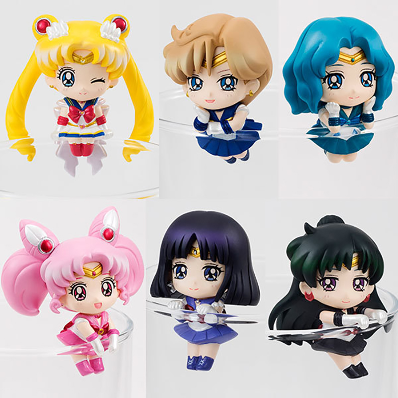 Sailor Moon Tea Cup Decorations Mini Toys 6pcs/set Tsukino Usagi Chibi Usa Sailor PVC Action Figure Collectible Model Toy KT3329 sailor moon capsule communication instrument machine accessory gashapon figure anime toy full set 100