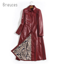 b 2019 New Arrival Women Autumn Winter Faux Leather Jackets Lady Fashion S-5XL Long Motorcycle Coat Outwear