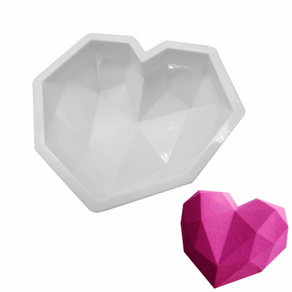 Bakeware Diamond Love Hearts Mousse Cake Mold French Dessert Silicone Pastry Mould White DIY Baking Non-Stick Mould