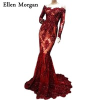 Burgundy Mermaid Evening Dresses 2018 Special Occasion Actual Images Lace Beaded Contrast Color Sexy Formal Gowns For Women Wear