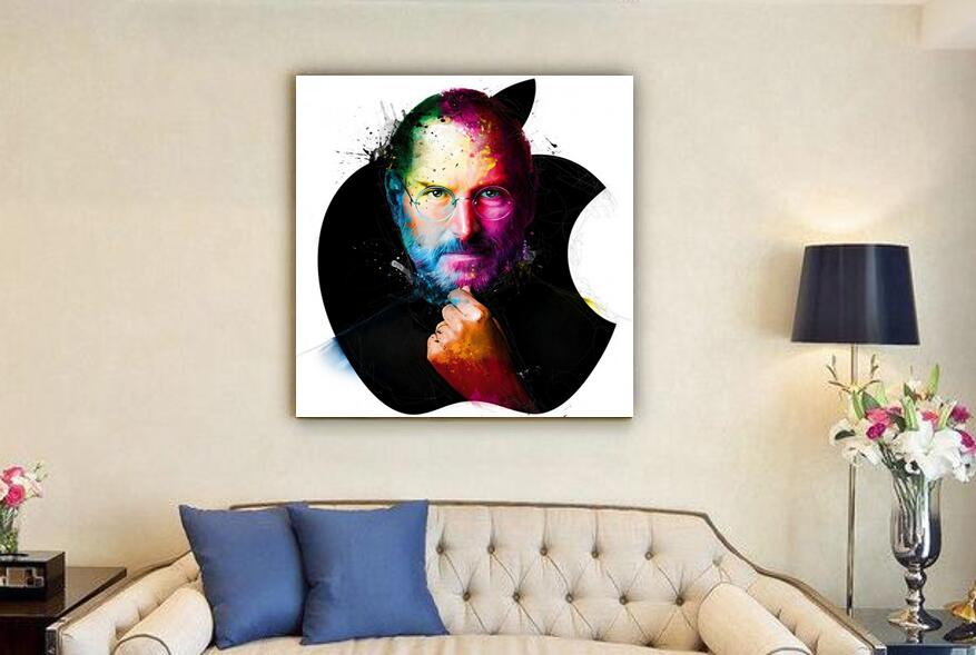 Hand Made Oil Painting Apple Iphone Steve Jobs Portrait On Canvas For Home Decor