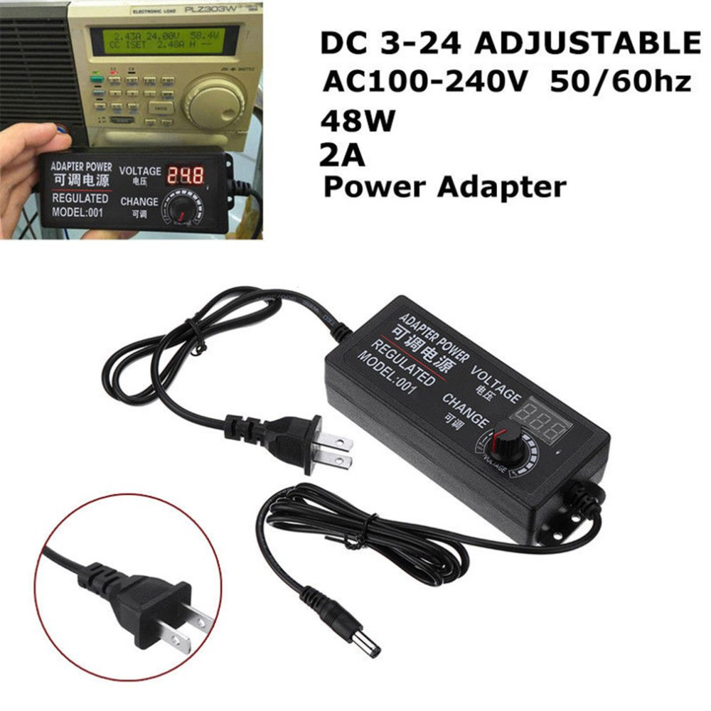 US Plug 3-24V AC/DC Adjustable Power Supply Adapter LED Digital Display 2A 48W Speed Control Volt Regulator with Knob ac dc adjustable power supply adapter 3 12v 5a voltage display speed control us plug ali88