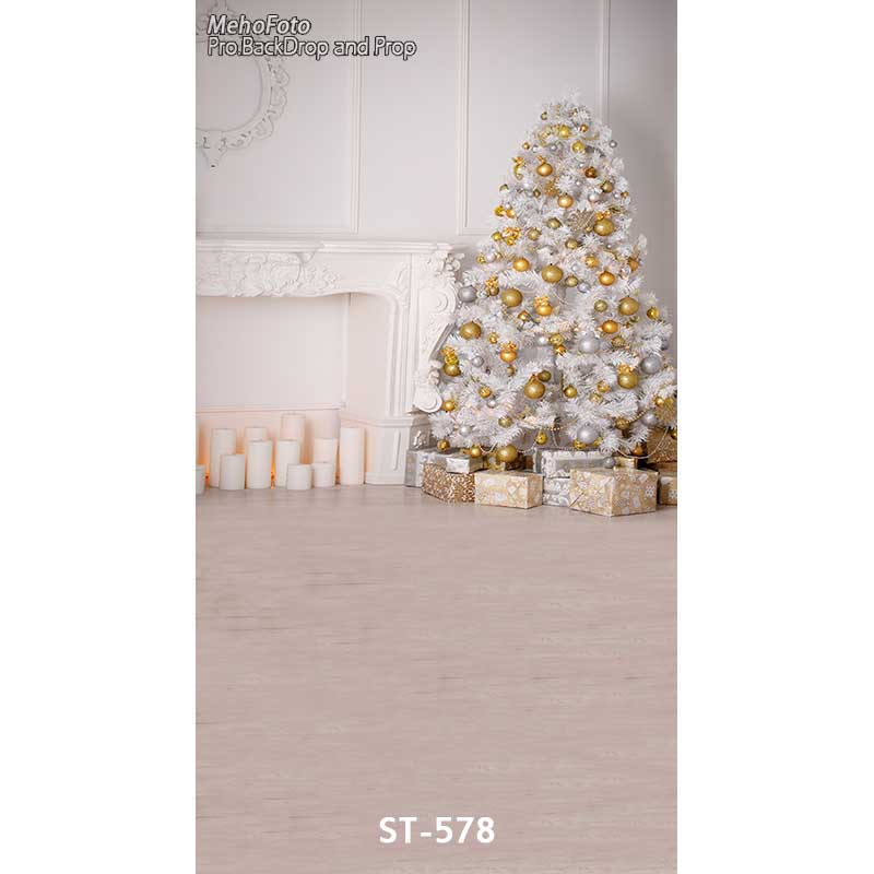 Christmas background vinyl photography backdrops Computer Printed christmas fire place tree and Gift box for Photo studio ST-578 white 3d decorations xmas tree hall fireplace room backdrops vinyl cloth computer printed christmas photo studio background