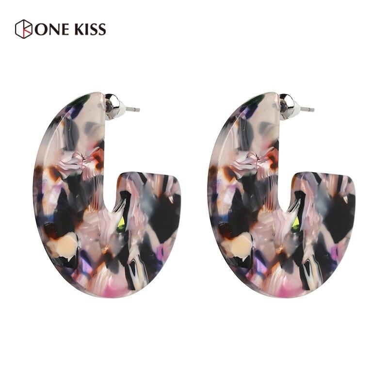 New Design Trendy Acid Acrylic Resin Semicircle Stud Earrings For Women Round Tortoiseshell Brinco Bohemia 2018 ZA Jewelry Gift