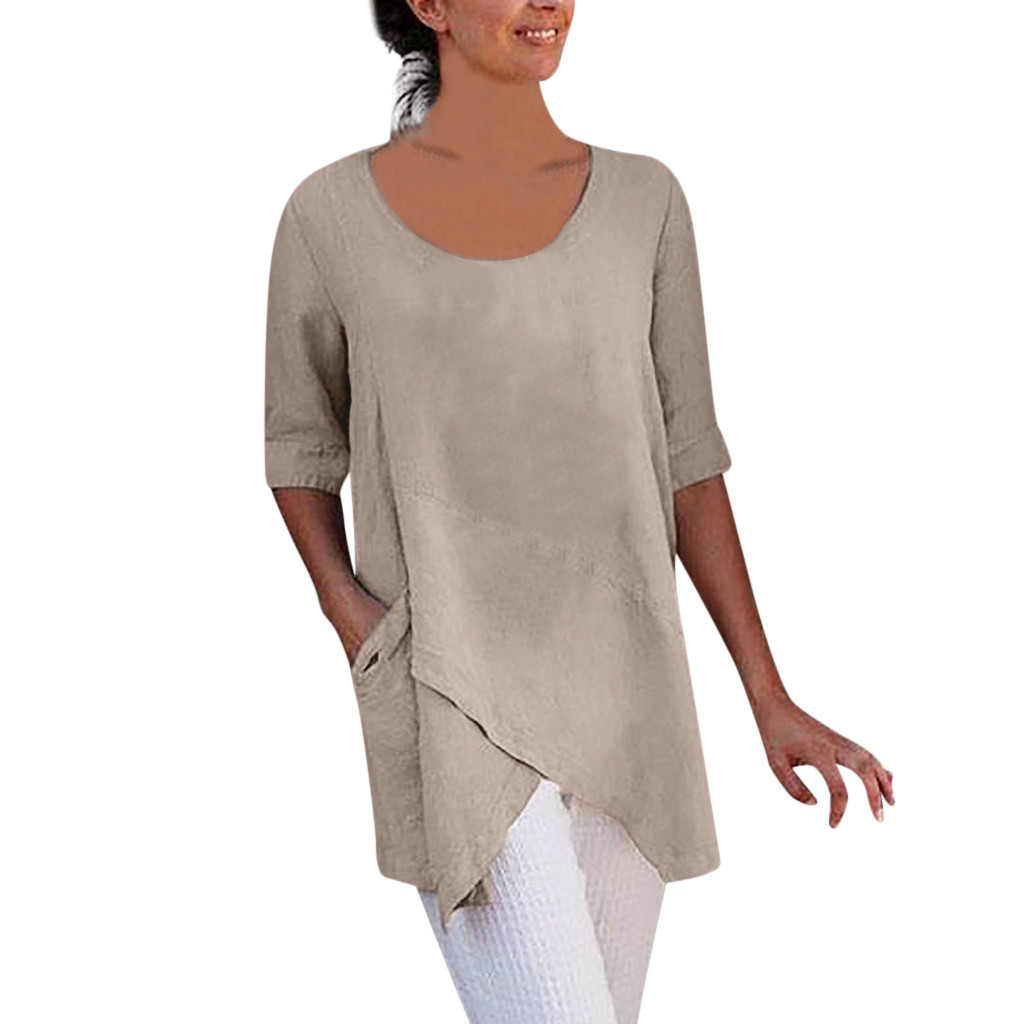 Woman Solid Color Top   Shirts   Fashion Half Sleeve Cotton and Linen   Blouses   O-Neck Casual Loose   Blouses   #Ju