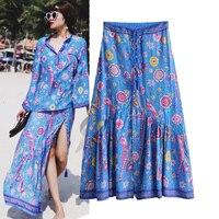 2019 Spring Summer New Women Ethnic Style Bohemian Skirt Female Flowers Print Tassel Lace Up Long Skirt