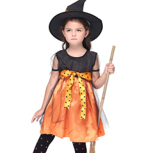 Cute Witch Cosplay for Girls Halloween Party Dress + Hat Accessories Costumes Set for Kids Party Supplies(China)