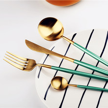 Stainless Steel Cutlery Set Green Gold Dinnerware Xmas Restaurant Dinner Fork Knife Set Silverware Wedding Tableware 4pcs/set(China)