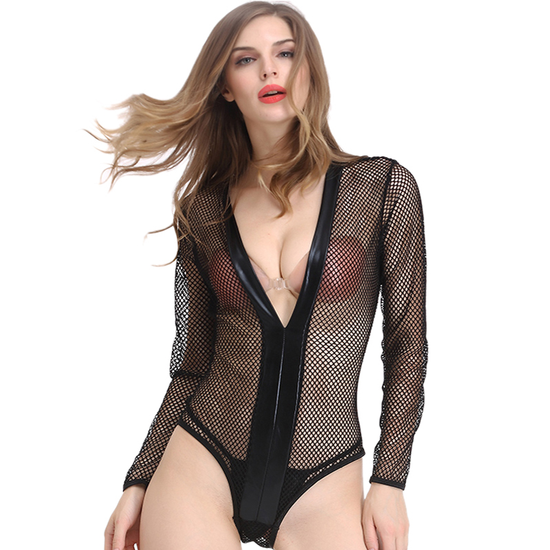 Lingerie Sexy Erotic Fishnet Bodysuits Hollow Out Black Lingerie Hot See Through Teddies Underwear Porn Nightie Sleepwear