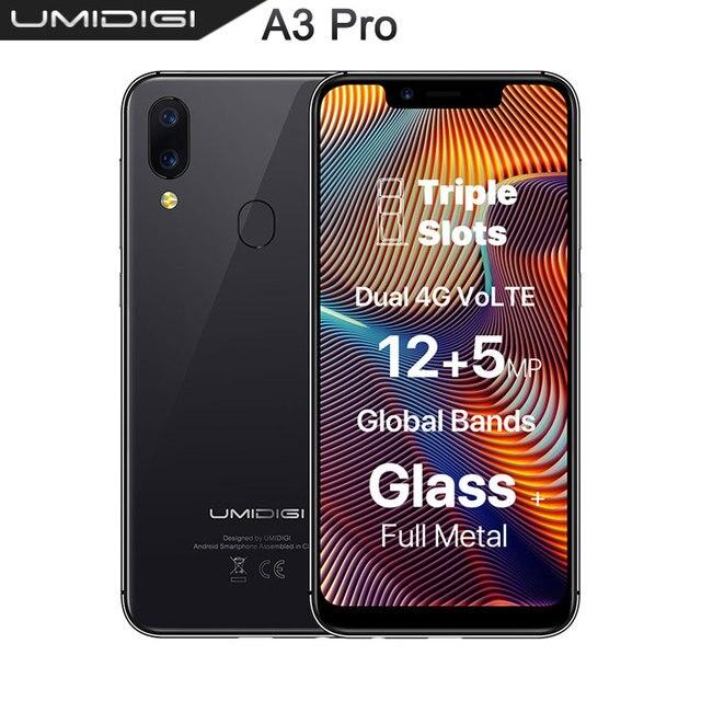UMIDIGI A3 Pro Globale Della Fascia смартфон с 5,7 дюймовым дисплеем, четырёхъядерным процессором 3 ГБ + 32 ГБ, 12 Мп + 5 МП, Android 8,1