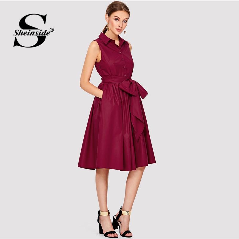 Sheinside Burgundy Self Belted Shirt Dress 2018 Summer Fit & Flare Button Sleeve