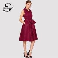 Sheinside Burgundy Self Belted Shirt Dress 2018 Summer Fit & Flare Button Sleeveless Midi Dress Women Elegant Party Dress