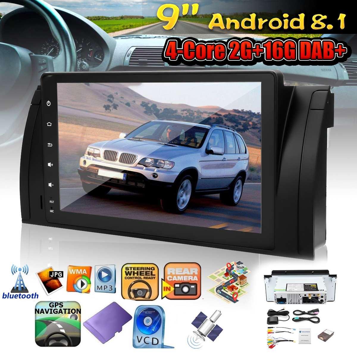 9 pouces voiture tableau de bord vidéo GPS stéréo Radio Wifi MP5 lecteur Android 8.1 3G 4G bluetooth 1 Din pour BMW E39 X5 E53