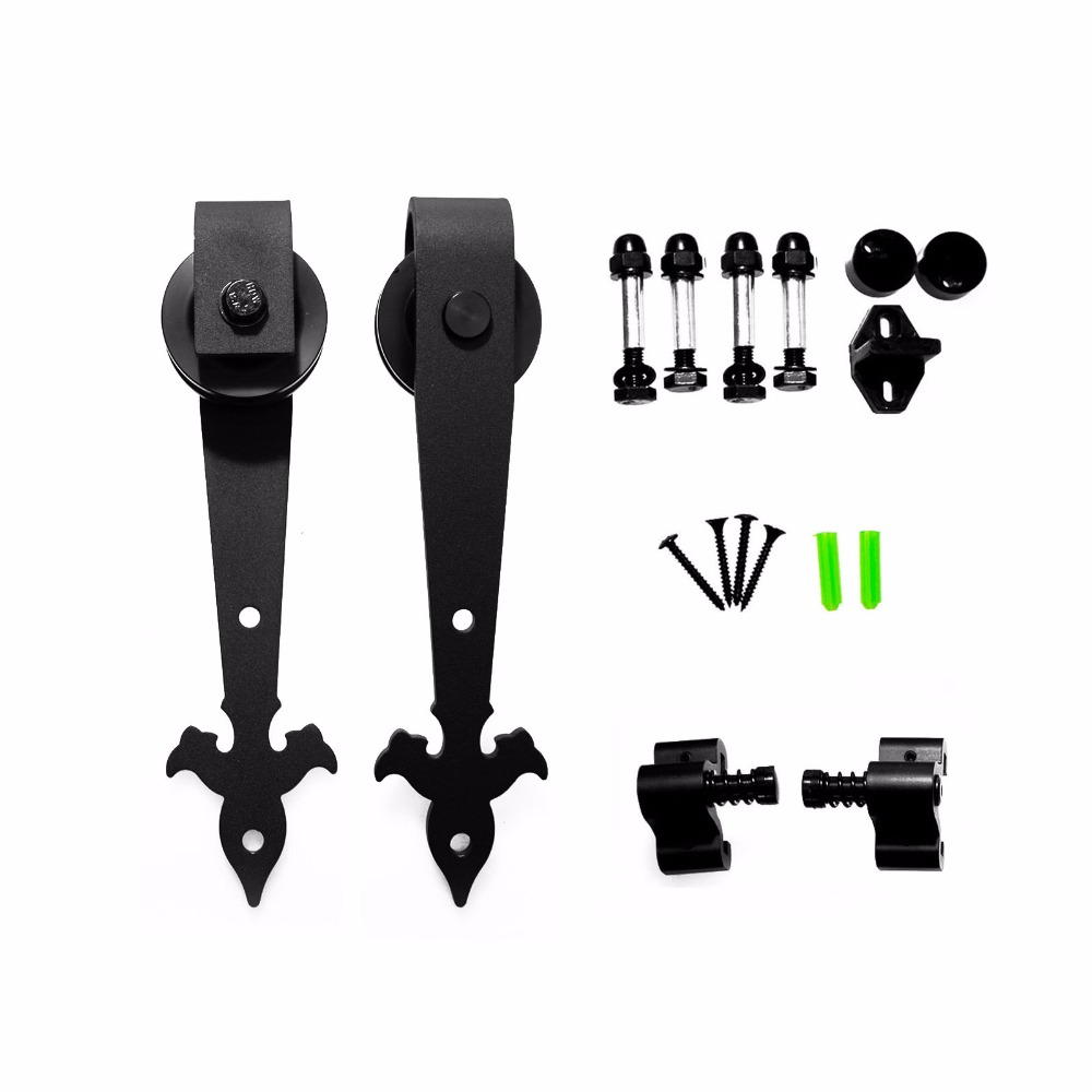 LWZH Double/Single Sliding Barn Door Hardware (Black) Flower Arrow Shape Hangers For Closet Sliding Door