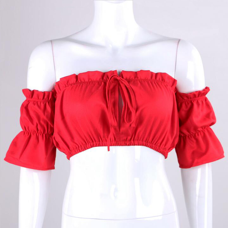 15492e26f2 New Ruffle White Chiffon Blouse Shirt Women Tops Boho Off Shoulder Crop Top  Red Summer Beach Blouse Chemise Tube Blusa-in Blouses   Shirts from Women s  ...