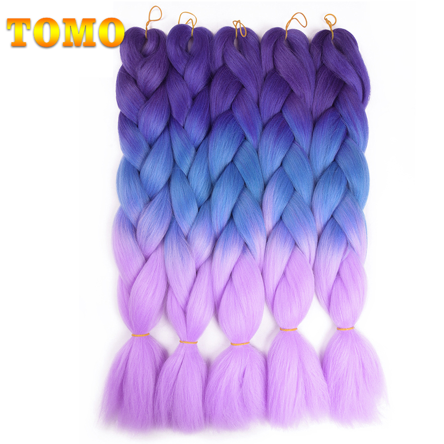 Hair Braids Sweet-Tempered Tomo Kanekalon Crochet Jumbo Braids 24inch 60cm Ombre Synthetic Braiding Hair Extensions Bulk Hair 100 Colors