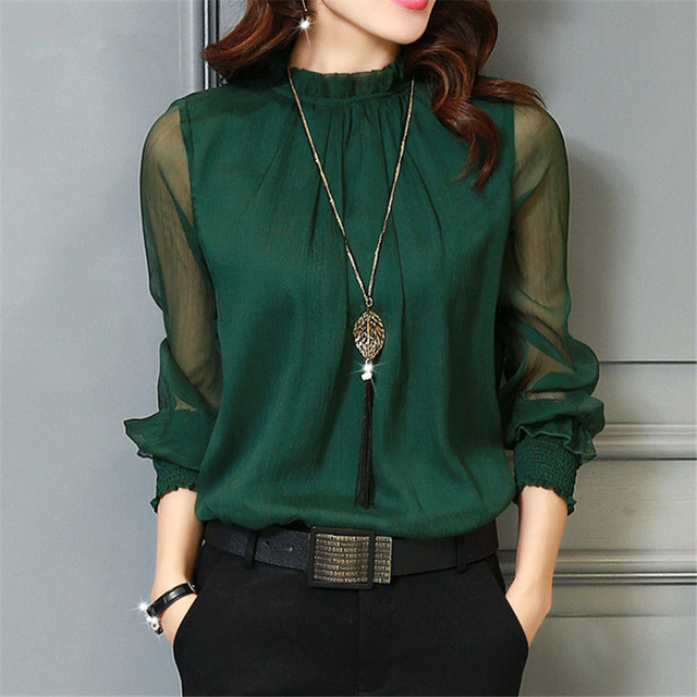 844aac40bf5c49 Chiffon Blouse 2019 New Women Tops Long Sleeve Stand Neck Work Wear Shirts  Elegant Lady Blouses Casual Solid Color Blusas 32746