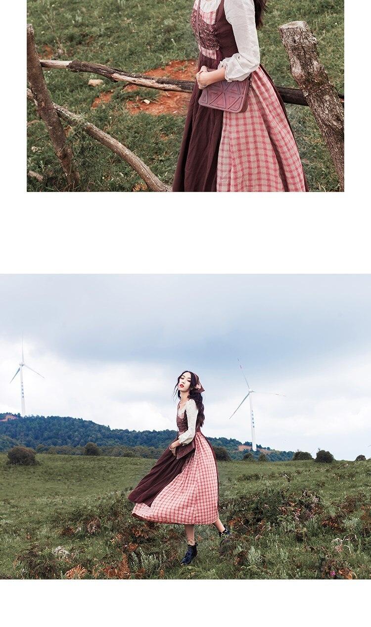 Maxi Automne Fille Rétro Robes Bourgogne Forêt Coton Linge Patchwork Femmes Jupes Plaid Robe rqrP8