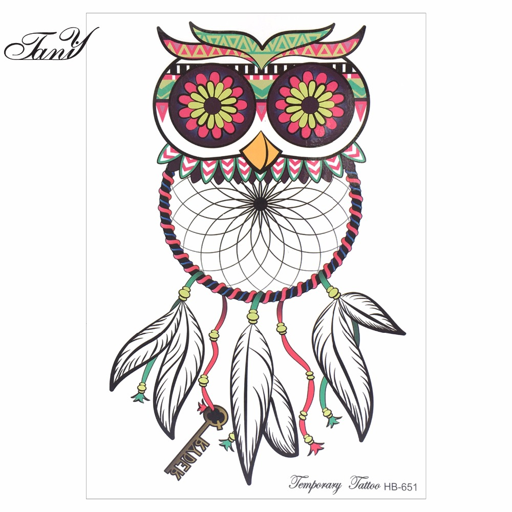 2017 NEW ARRIVAL Blue Owl Temporary Tattoos SO COOL NEW ARRIVAL 21 X 15 CM Temporary Tattoo Stickers