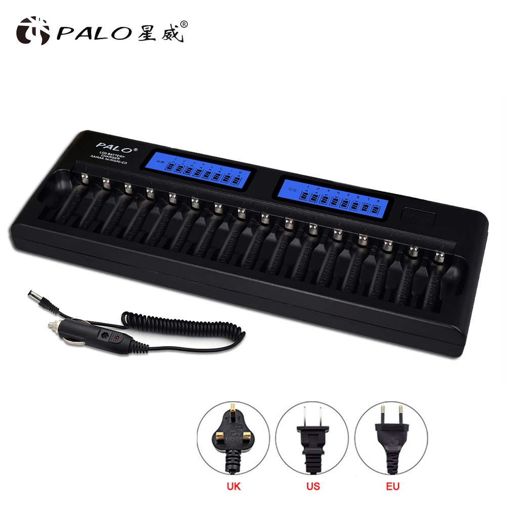Palo Nouveau 16 emplacements Intelligente 2-LCD Affichage AA/AAA Batterie Chargeur Pour NI-MH NI-CD Rechargeable Batteries avec chargeur De Voiture