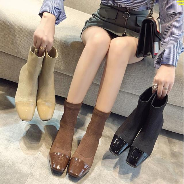 04d80b0b6603 japanned leather square toe ankle boots women thick heel sock boots short  designer autumn winter botas