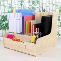 Multifunctional Wooden Desk Set Desk Organizer Pen Holders Cosmetic Storage Box/Memo Box Office Organizer School Supplie