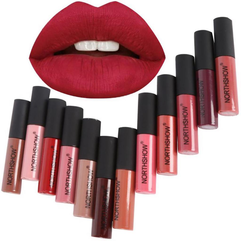 12 Colors Matte Liquid Lipstick Long Lasting Makeup Moisturizer Lip Gloss Batom Make Up Waterproof Pigment Levre NORTHSHOW(China)