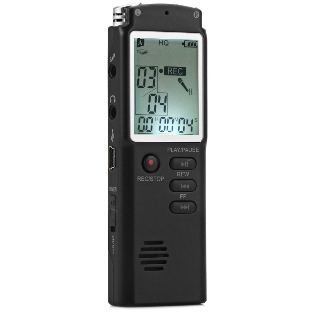 8GB High Fidelity rofessional Real-<font><b>Time</b></font> <font><b>LCD</b></font> Display Voice Recorder Dictaphone With <font><b>MP3</b></font> Audio Voice Memo Digital <font><b>Player</b></font> Function image