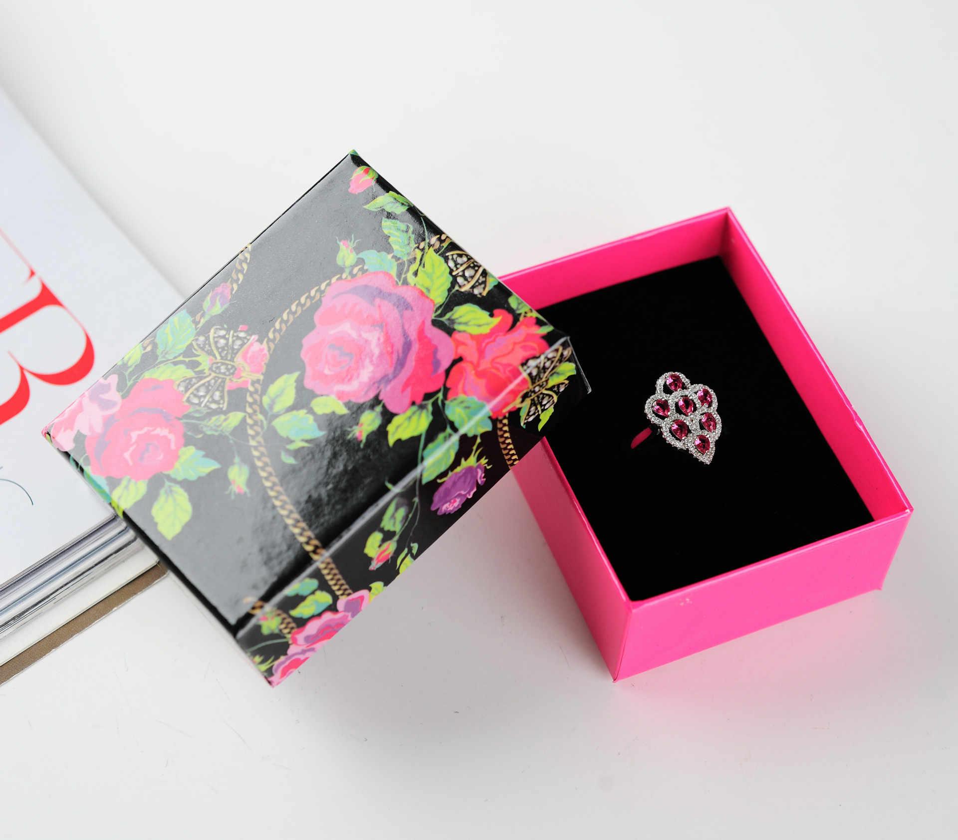Cajas de joyería DoreenBeads venta al por mayor de flores impresas anillo de collares rosa roja caja de embalaje caja de regalo 8,5*6,5*3,5 cm 1 pieza