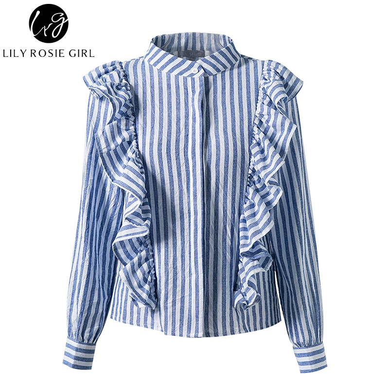 88ab4c83ab6 ... Lily Rosie Girl Blue Striped Casual Women Blouse Shirt Ruffles Long  Sleeve Spring Summer 2018 Cotton Shirts Tops Blusas Chemise. -29%. Click to  enlarge