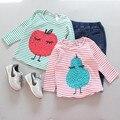2016 otoño nueva ropa del bebé del bebé embroma la ropa bobo choses de maní de dibujos animados patrón de algodón de manga larga camisetas tops