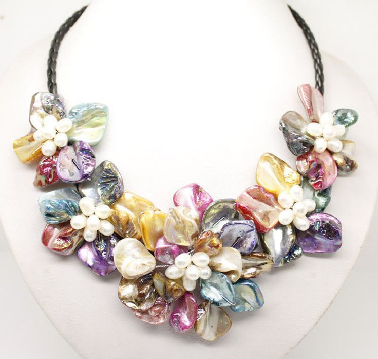 new Style Hot sale**** new Multi-Color of pearl shell flower necklace 18 Fashion Wedding Party Jewellery