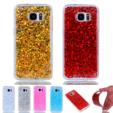 For Samsung Galaxy S7 Edge Case Fashion Bling Shining Powder Sequins S6 Silicone Glitter Cover