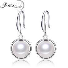 YouNoble best price 925 sterling silver earrings for women high quality 9-10mm natural pearl jewelry 3 colors drop earrings real