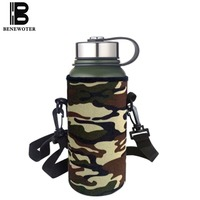 Outdoor Sport Travel Insulation Water Bottle Stainless Steel Kettle Camouflage Bounce Cup Vacuum Flasks Thermos Drinkware Bottle