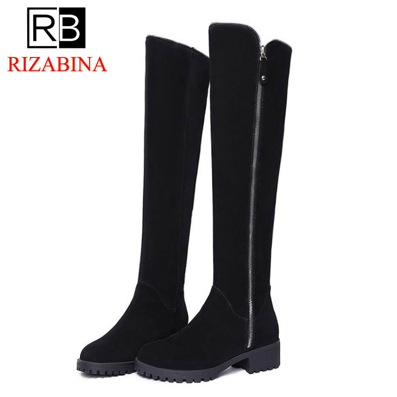 RizaBina Women Real Leather Med Heel Over Knee Long Boots Women Zipper Warm Fur Inside Winter Boots Feminina Shoes Size 34-39 rizabina cold winter snow shoes women real leather warm fur inside ankle boots women thick platform warm winter botas size 34 39