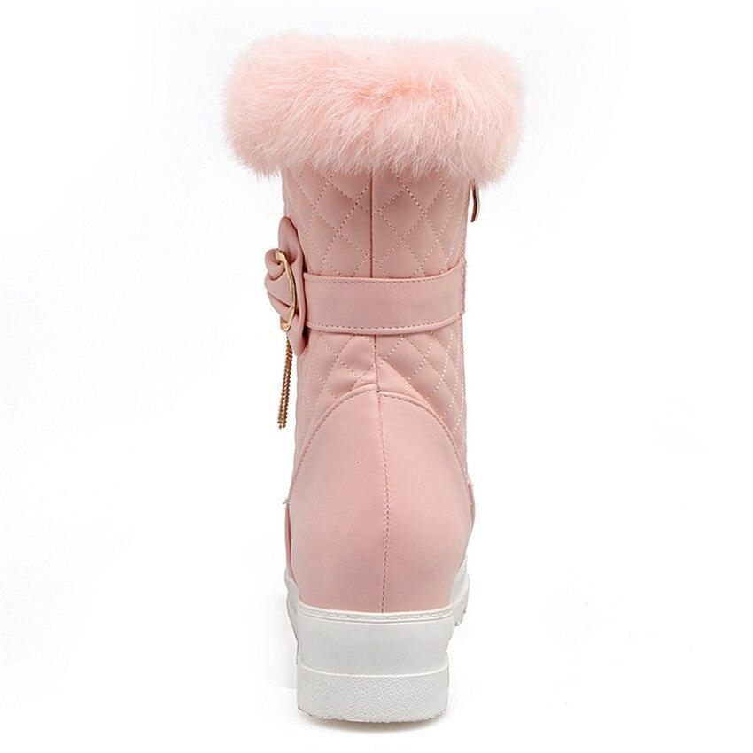 Winter Warm Boots Women Platform Mid Calf Snow Boots Woman Short Boots High Quality Plus Size 33 - 40 41 42 43 Botas botte