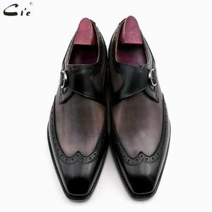 Image 4 - Chaussures en cuir de veau peint à la main, Double bretelles moine, gris et noir, boucle pleine grains, respirantes, pour hommes, cie MS03