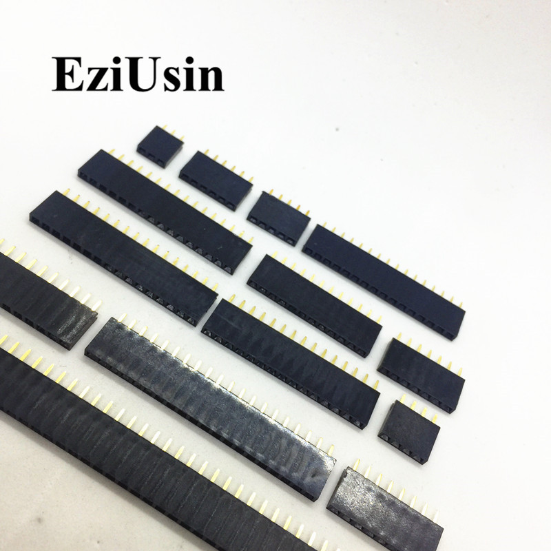 100pcs 2.54mm Single Row Female PCB Socket Board Pin Header Connector Strip Pinheader 2/3/4/6/10/12/14/16/20/40Pin For Arduino