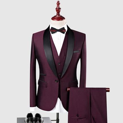 Men Burgundy 3 Piece Shawl Lapel Suit Groom Tuxedos Formal Wedding Suit Custom