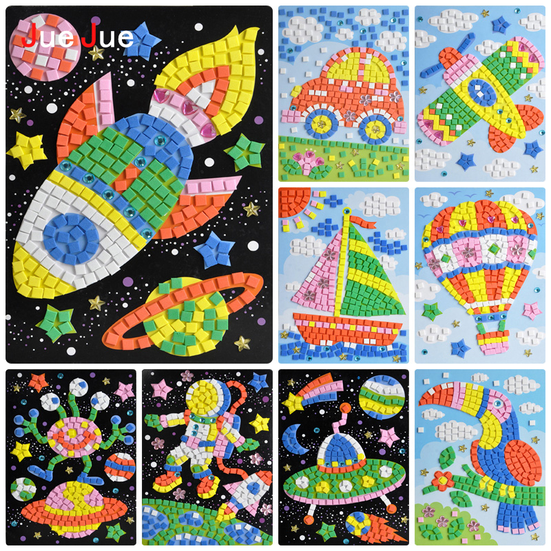 New 24 Styles 3D Mosaics Creative Sticker Game Animals Transport Arts Craft EVA Puzzle Educational Games