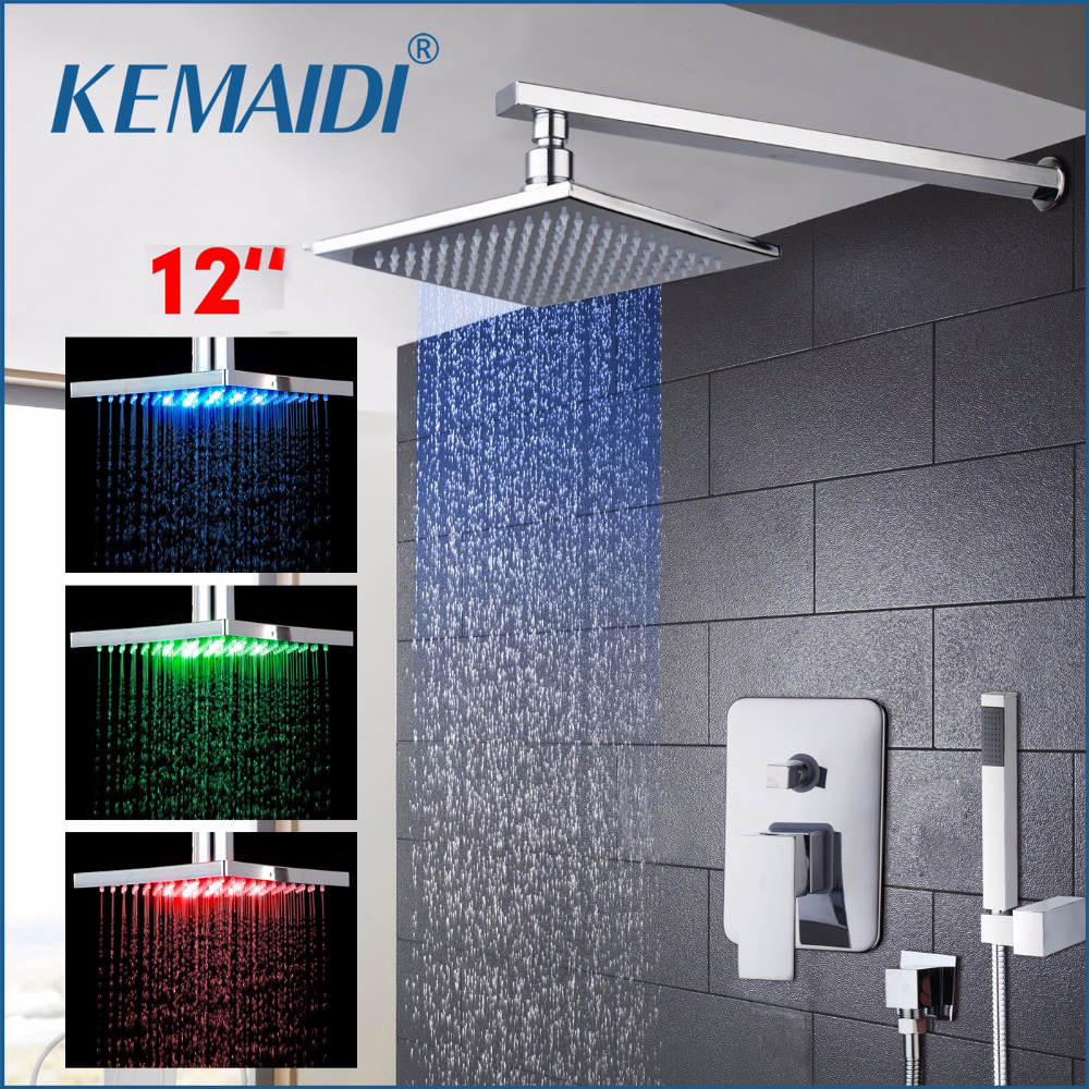 KEMAIDI 12 LED Changing Rainfall&Waterfall Bath Shower Panel Wall Mounted Shower Set With Hand Shower Set FaucetsKEMAIDI 12 LED Changing Rainfall&Waterfall Bath Shower Panel Wall Mounted Shower Set With Hand Shower Set Faucets